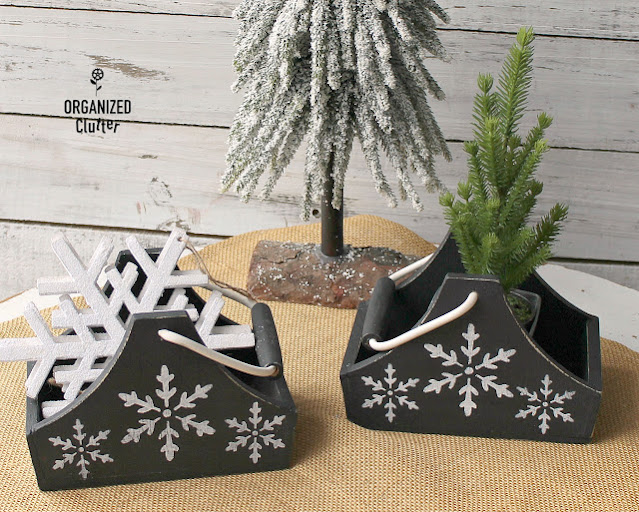 Small craft shop boxes upcycled with paint and snowflake stencils