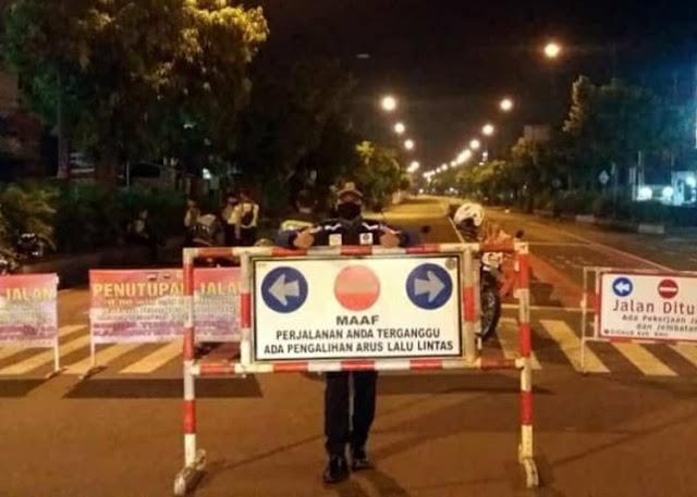 jalan di purwokerto ditutup