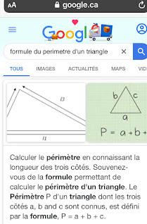 Formule du périmètre du triangle sur Google Recherche