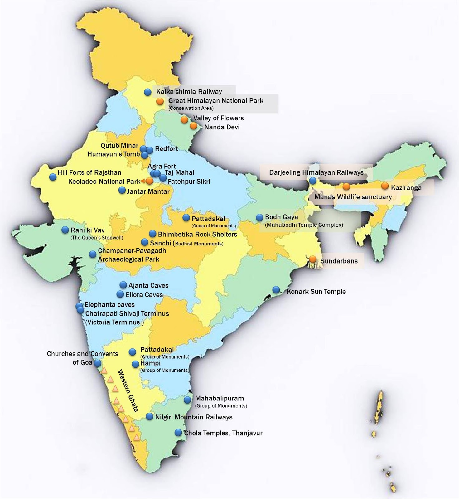 unesco world heritage site india map - HD 1472×1600