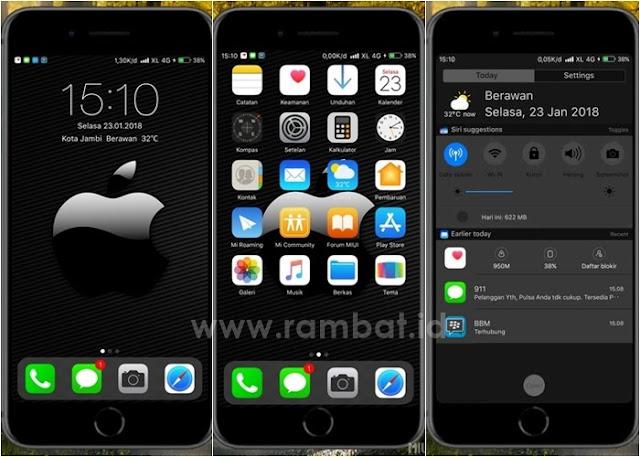 Tema Xiaomi MIUI 8 / MIUI 9 Terbaik dan Populer - ios Black