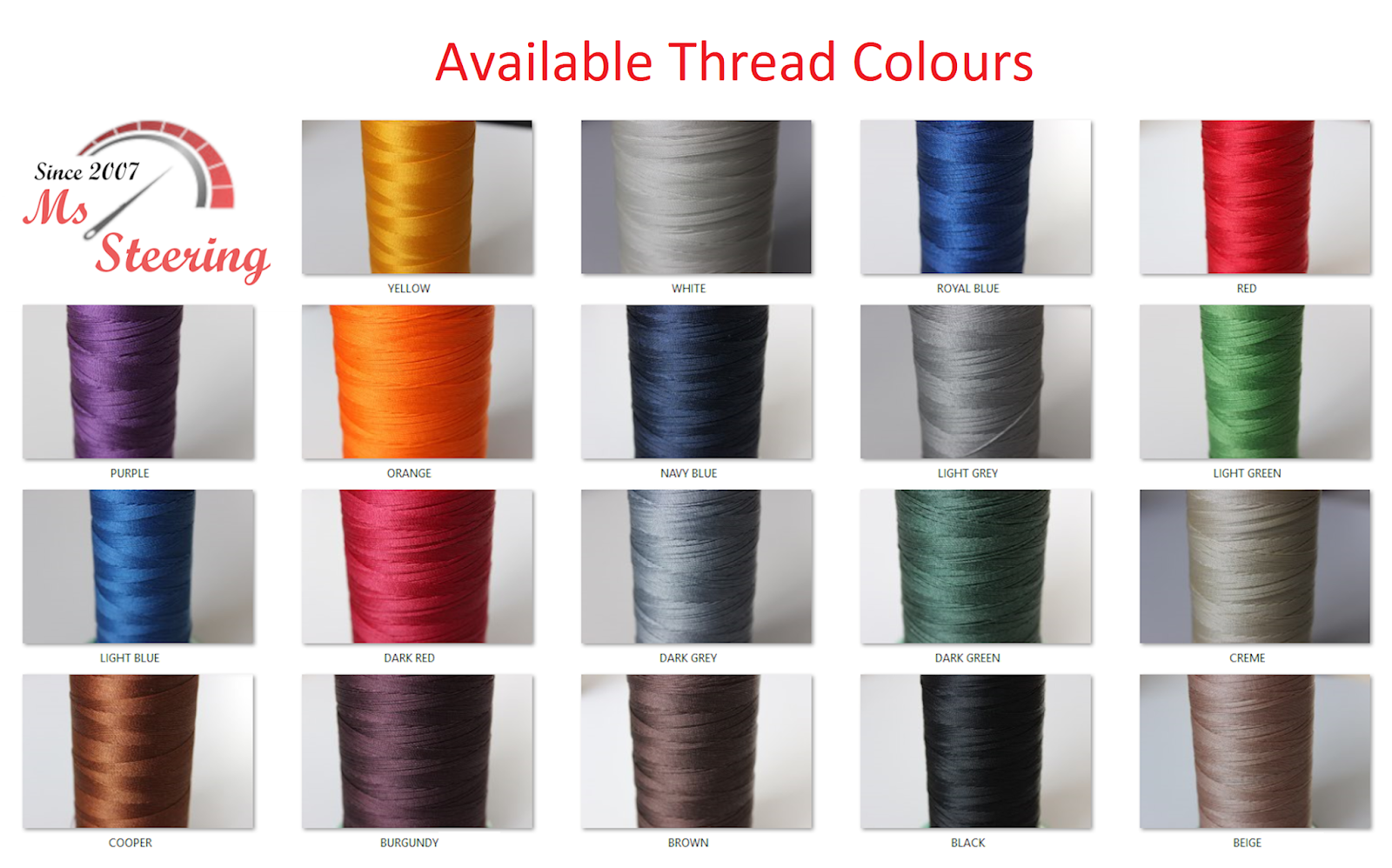 Most popular thread colours