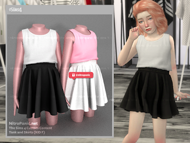 Skirt and Tank Kid F for The Sims 4