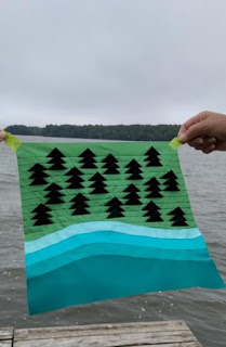 Lake and trees quilt block