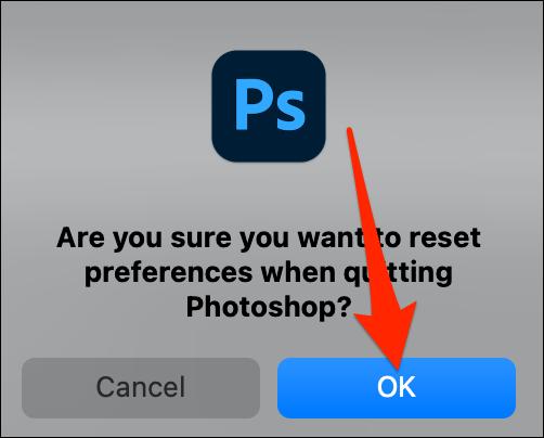 حدد موافق من موجه إعادة التعيين في Photoshop