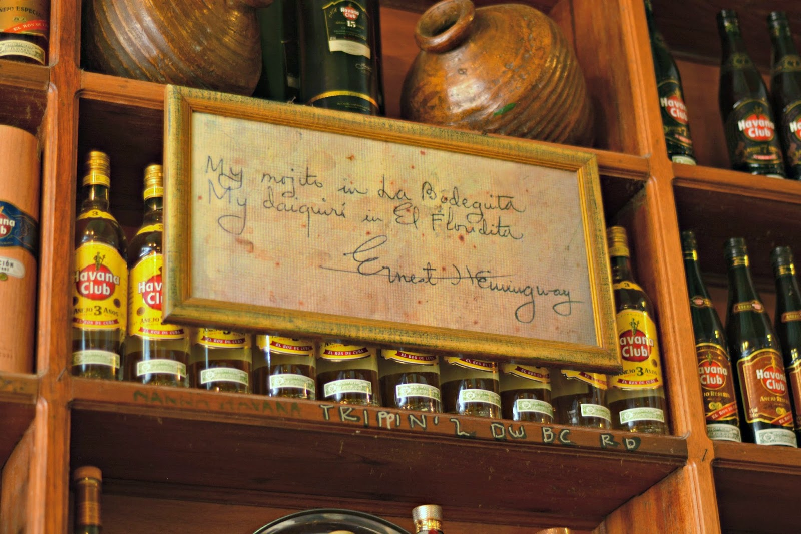 Ernest Hemmingway quote in La Bodeguita Havana