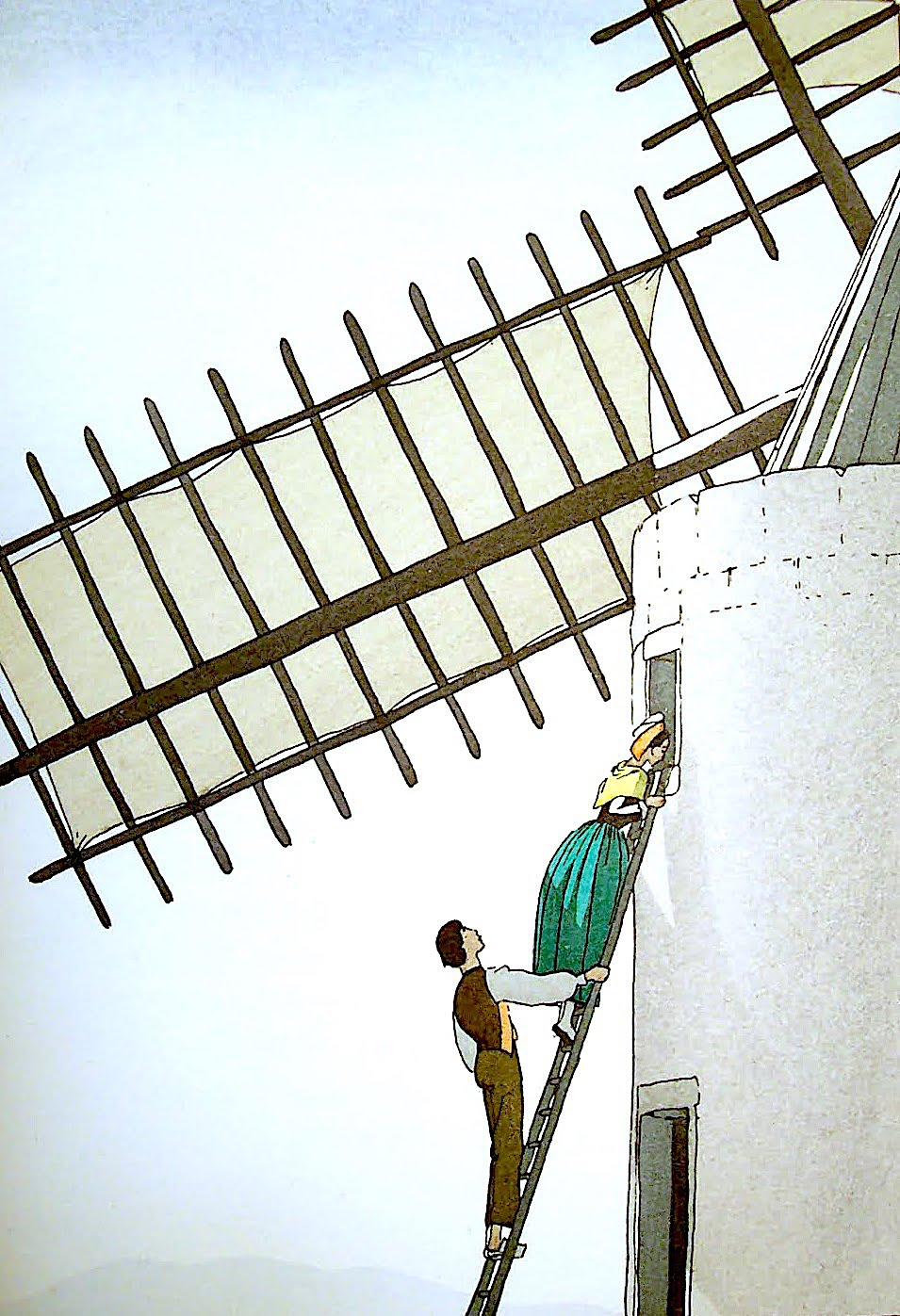 an André Edouard Marty illustration of two people on a windmill ladder