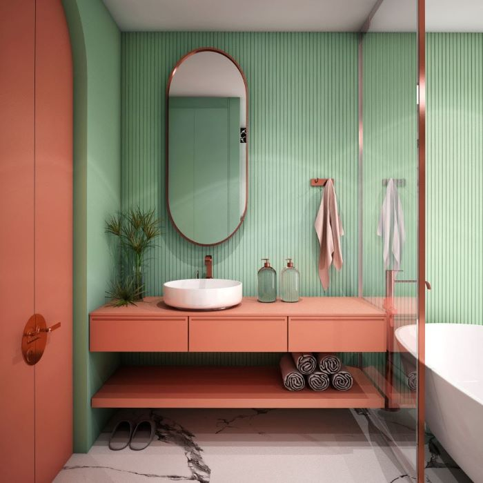 Green and coral bathroom
