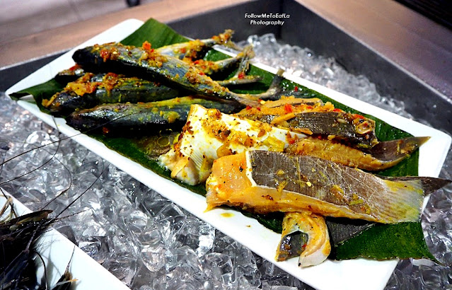 Selection of Ikan Kembung Wrapped In Banana Leaf Thai Marinated Ikan Pari
