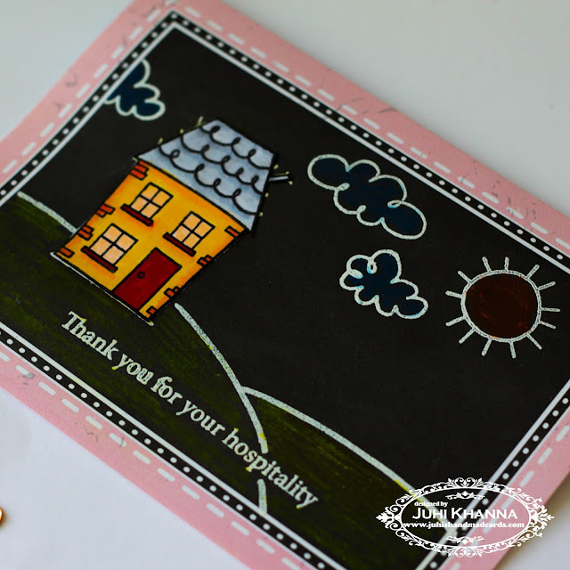 A bright and happy handmade card using Jane's Doodles Home Sweet Home stamp set.