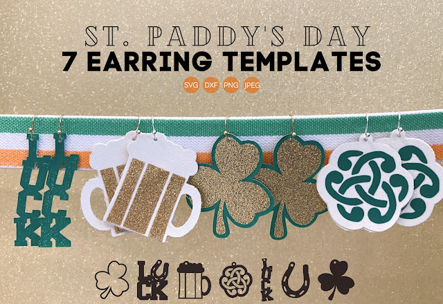 Silhouette SVG, Commercial use SVG, Silhouette cut files, st. patrick's day free files, faux leather earrings