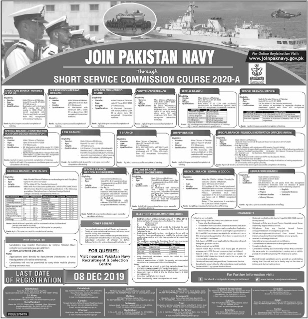 Join Pak Navy 2019-20 through Short Service Commission Online Registration
