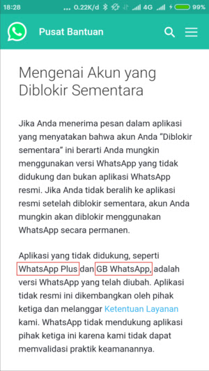 Untuk mengantisipasi pemblokiran akun whatsapp mod, kalian harus tahu penyebab whatsapp diblokir sementara bahkan sampai dibanned, seperti yang kita ketahui jika whatsapp mod ini dikembangkan oleh pihak ketiga alias tidak resmi.