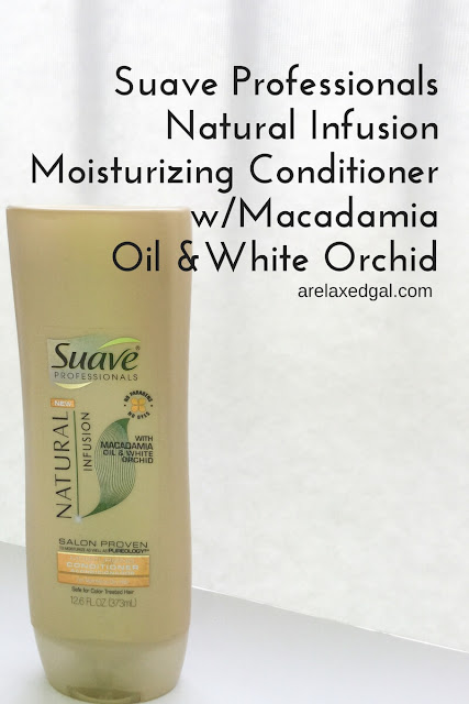 A review of Suave Professionals Natural Infusion Moisturizing Conditioner with Macadamia Oil on relaxed hair. | arelaxedgal.com