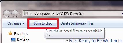 اضغط على زر حرق الملفات