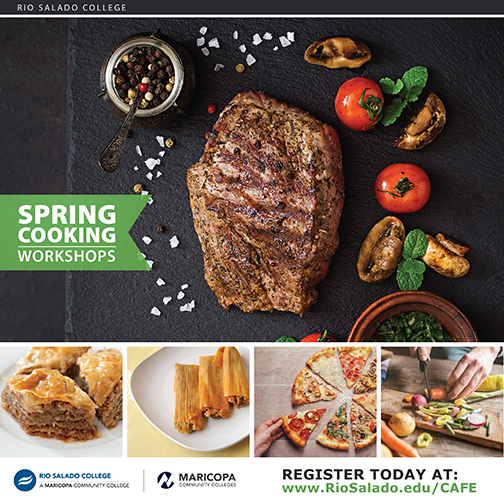 snapshot of spring cooking workshop flyer with images of culinary delights.  Text including in blog copy.