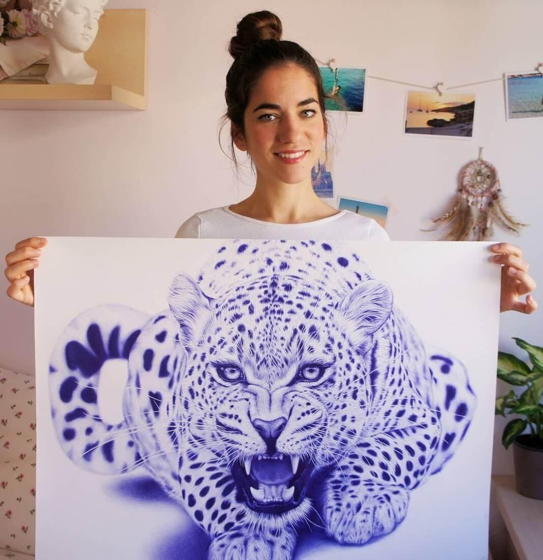 10-Leopard-Eva-Garrido-Ballpoint-Bic-Pen-Portrait-Drawings-www-designstack-co
