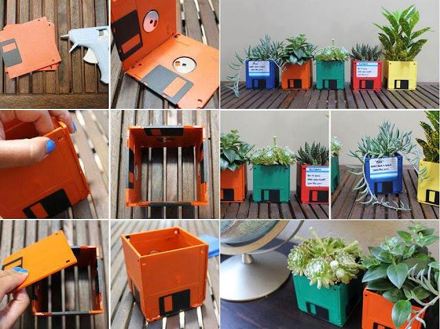 reciclagem de disquetes viram vasos criativos