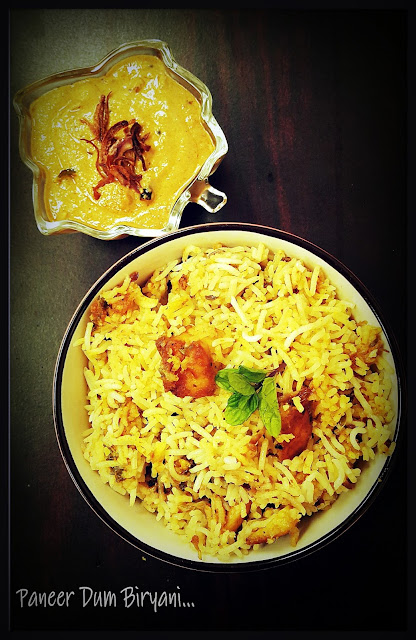 Paneer Dum Biryani With Onion Ka Salan