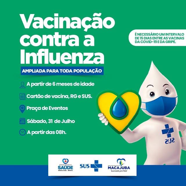 Vacinação contra gripe acontece neste sábado (31), na Praça de Eventos em Macajuba