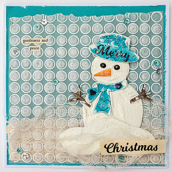 Layers of ink - Snowman with DIY snow tutorial by Anna-Karin Evaldsson.