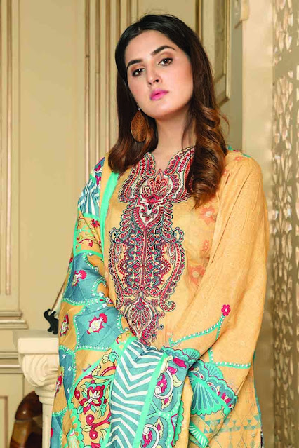 Gul ahmed winter unstitched yellow colour and printed khaddar suit