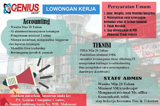 Lowongan Kerja PT. Genius Computer Centre Makassar