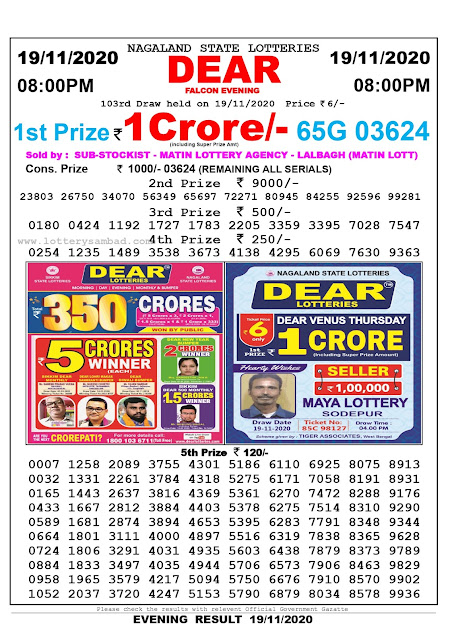 Lottery Sambad 19.11.2020 Today Results 11:00 pm, Nagaland State Lottery Sambad Today Result 8 pm, Sambad Lottery, Lottery Sambad Live Result Today