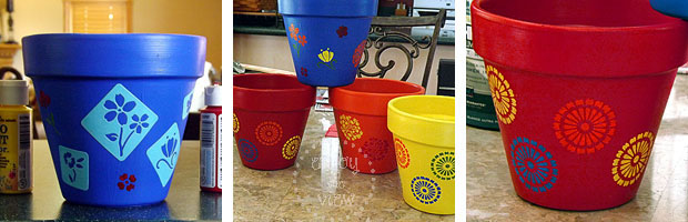 painting/stenciling terra cotta pots