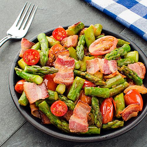 Asparagus, Bacon, and Tomato Stir-Fry
