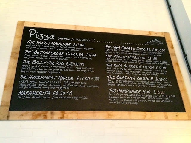 pizza menu at The Stable