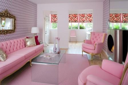 Ruang Tamu Minimalis Warna Merah Muda