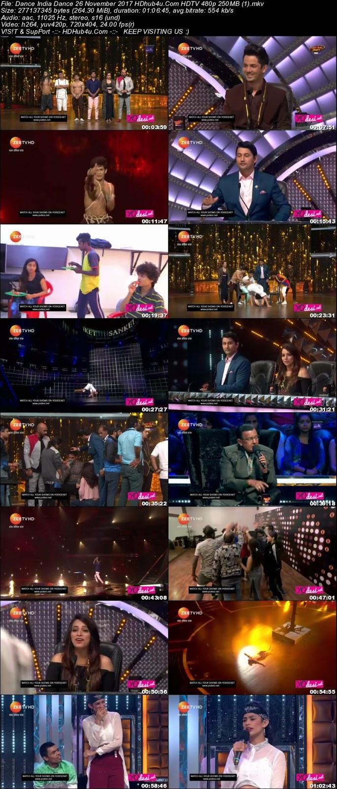 Dance India Dance 26 November 2017 480p HDTV 250MB Download