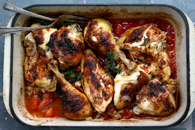 Basque Roast Chicken Recipe, a flavourful one-pan meal that's filled with vegetables too.