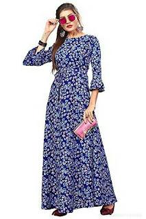 THE BEBO Blue Crepe Maxi Dress