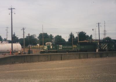 Burlington Northern SD40-2 #7812 in Vancouver, Washingon, on July 13, 1997