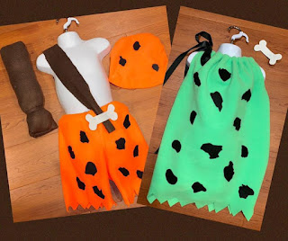 Put your twins in these Pebbles and Bam Bam costumes for Halloween.