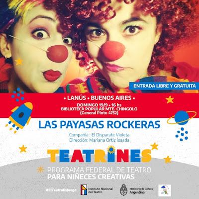 """""""Las Payasas Rockeras"""" se presentan con entrada libre y gratuita este domingo en la Biblioteca Popular Monte Chingolo"""
