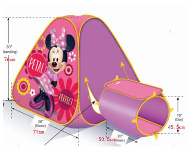 Lều Trẻ Em Bé Gái Minnie Có Ống Chui