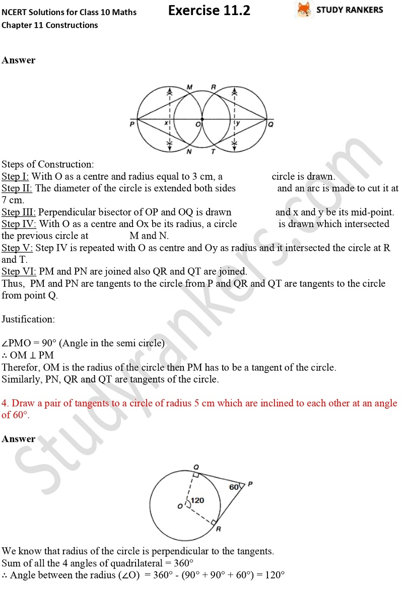 NCERT Solutions for Class 10 Maths Chapter 11 Constructions Exercise 11.2 Part 3