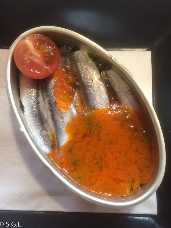 Lata de anchoas en el restaurante Hector Oribe. Laguardia