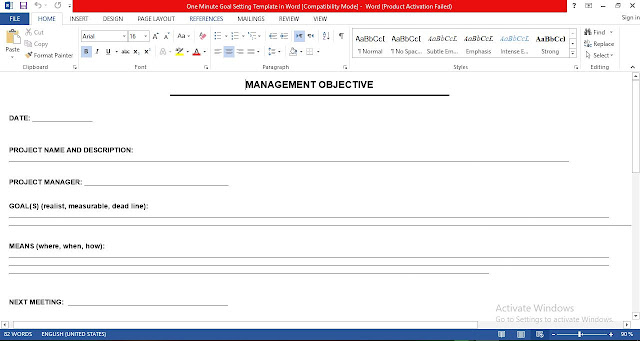 One Minute Goal Setting Template in Word Free Download