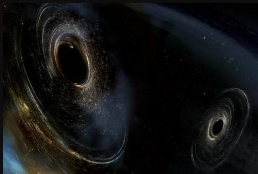 ilustración de dos agujeros negros fusionándose