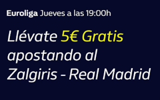 william hill 5€ Gratis Zalgiris Kaunas vs Real Madrid 17-10-2019
