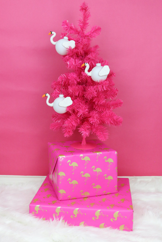DIY Pool Float Christmas Ornaments - Flamingo and Swan Christmas Ornament craft idea
