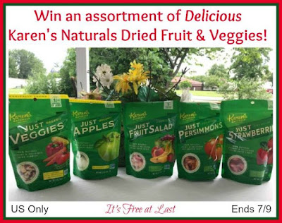 Enter the Karen's Naturals Dried Fruit & Veggies Giveaway. Ends 7/9