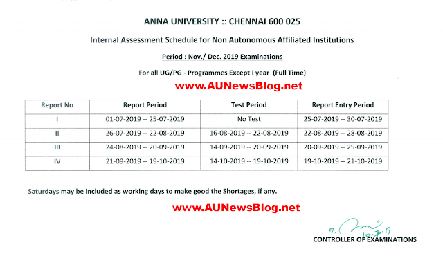 Anna University Internal Assessment & Academic Schedule for November December 2019
