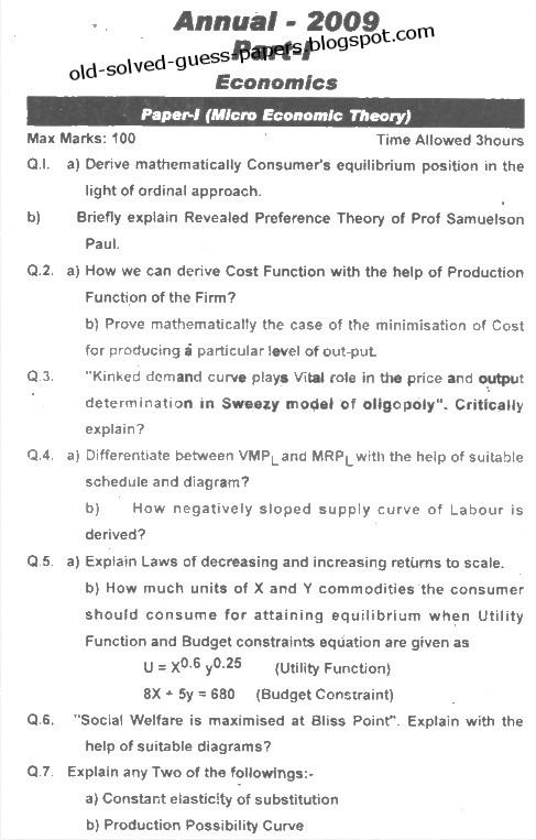 Micro economics issues paper