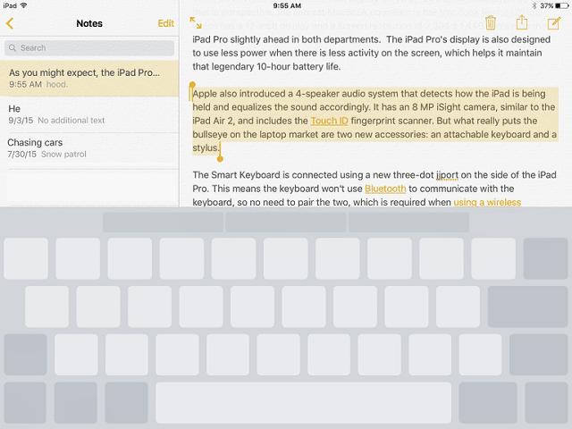Layar iPad menampilkan trackpad virtual