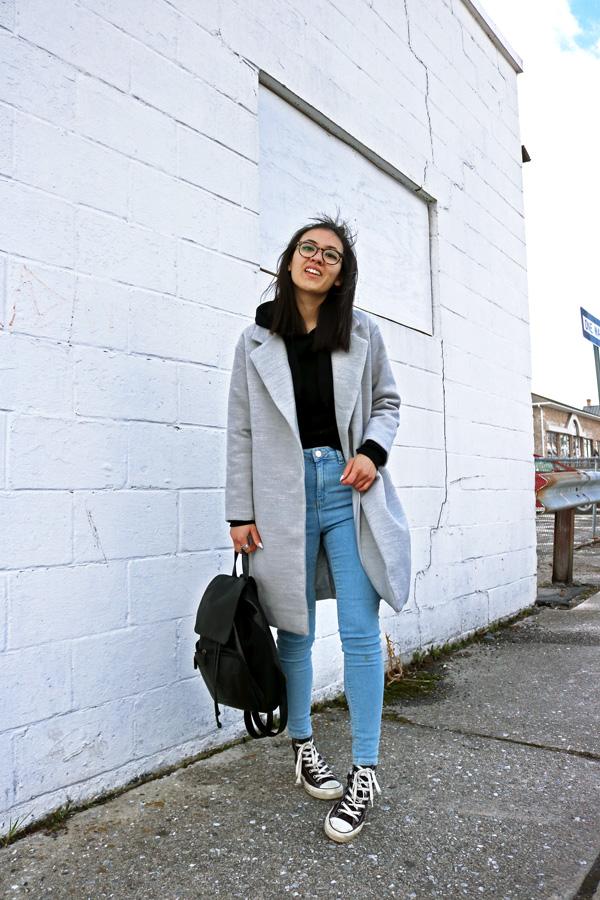 Gray Coat Denim Jeans Black Converse Shoes